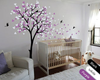 Tree Wall Decal Modern Baby Nursery Wall Decals Baby Decal Tree with Blossoms and Birds Wall Mural Sticker Wall Decor - 002