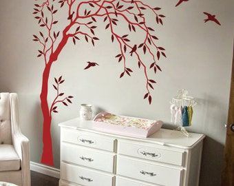 Creative Nursery Wall Tree Decal - Summer Trees Decal - Baby Room Decal with Birds and Leaves - 038