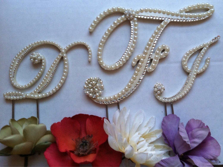 3 Initial Monogram Wedding Cake Topper by ShellCoastalDesigns