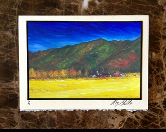 Montana Rockies Red Barn in Canola Field Notecard