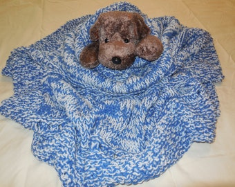 Bright Blue and White Hand Knitted Baby Blanket
