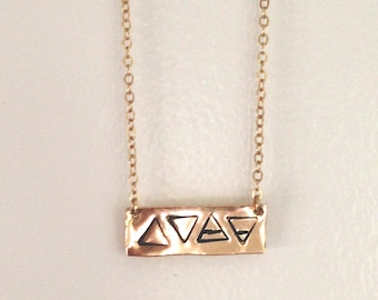Four Elements Necklace, Primary Elements, Gold Bar, Glyph