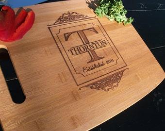 Personalized Cutting Board Engraved Custom Carved Wood Cutting Board Established Wedding Date. Housewarming Gift