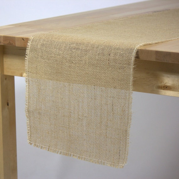 Burlap table runner with fringed edge 12 by for 120 inches table runner