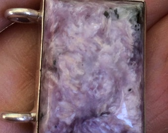 Wee Square of  Purple Charoite Pendant.   Sterling Silver. free US ship 23.50