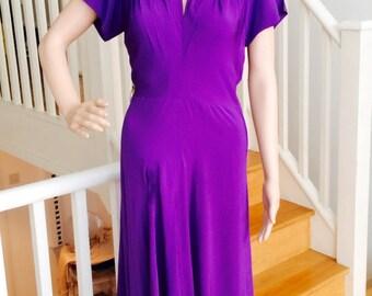 1930's Amazing maxi  Cadbury purple evening dress