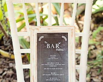 Bar Menu / Wedding Bar Sign / Cocktail Signature Drinks Menu / Chalkboard Bar Poster by Mint Imprint / CUSTOMISED Printable Wedding Sign
