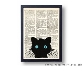 Black Cat Wall Art, Wall Decor, Little Cat Dictionary Art Print, 8x10 illustration Old Dictionary Page Print, Book Print
