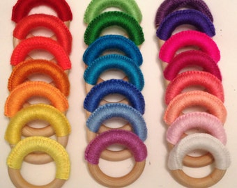 2 Crochet Teething Rings - A pair from your choice of 22 colors.