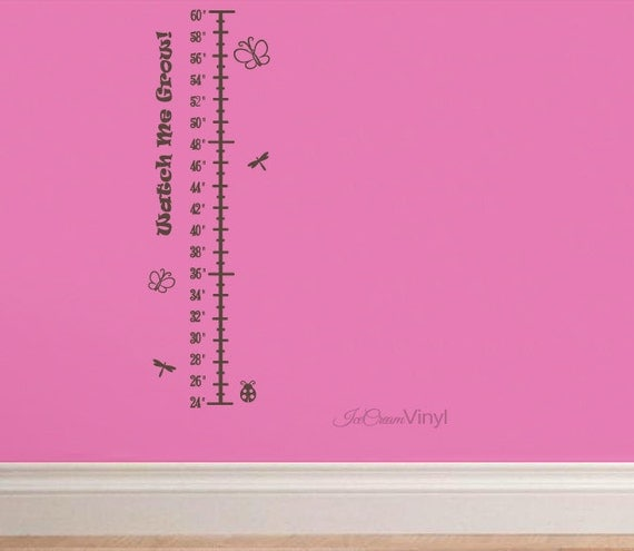 Butterfly Growth Chart Wall Decal for Girl Boy Room Childrens Decor