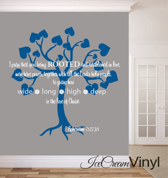 Scripture Wall Decal Ephesians 3:17-18 Being Rooted and Grounded in Love for Living Room Bedroom Family Room Home Decor Vinyl Lettering