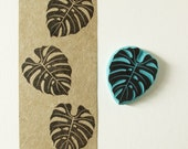 Tropical leaf stamp, monstera rubber stamp, hand carved, tropical decor, DIY summer idea