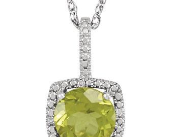 Peridot & Diamond Sterling Silver Necklace