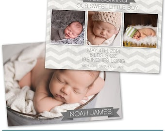PSD Photoshop Template Newborn Birth Announcement Card Template - NC141