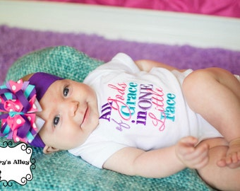 All of Gods Grace in one Little Face - Girls Embroidered Shirt & Matching Hair Bow Set