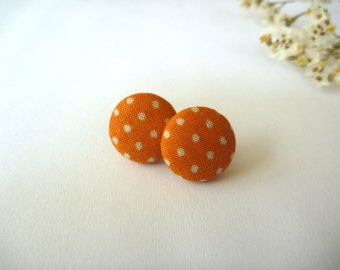Orange Polka Dot Fabric Button Post Earring.