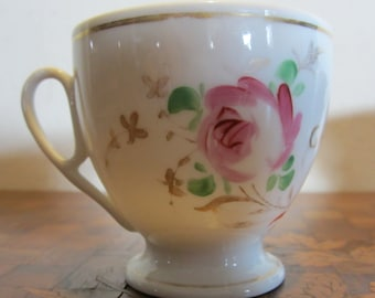 Antique French porcelain cup, hand painted with roses, ca 1880, Paris