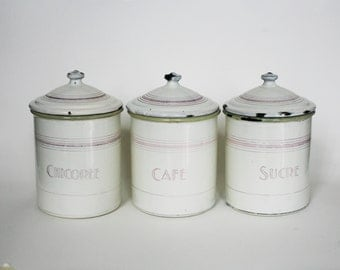 popular items for enamel canisters on etsy