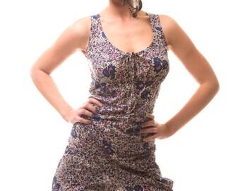 SALE: Backless Bloomer Playsuit - Indigo & Violets Floral Print