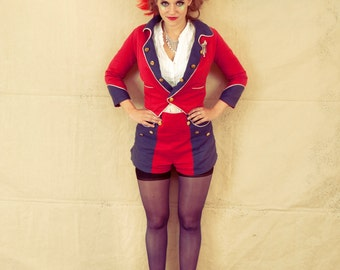 Red and Blue Military Jacket Cropped Linen