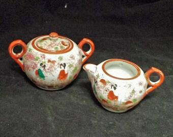 Geisha Girl Sugar Bowl and Creamer, Hand Painted Sugar Bowl Creamer, Vintage Sugar Bowl Creamer, Japanese Sugar Bowl Creamer, Antique