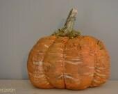 Primitive Grungy Fabric Pumpkin - Fall Decor- Shelf Sitter - Handmade