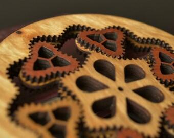 Functional wooden non-circular planetary gear.