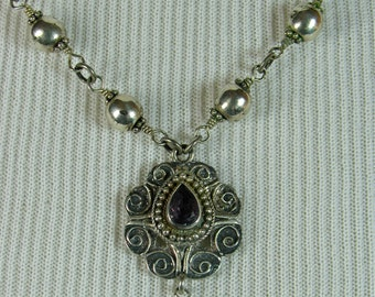 SALE! Reduced from 120.00 to 95.00! Amethyst Victorian Pendant Necklace
