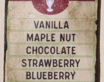 Miniature Dollhouse Vintage Inspired Ice Cream Sign