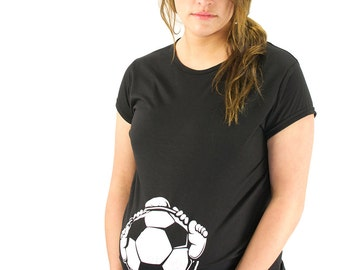 Baby Holding a Soccer Ball Maternity T-Shirt Maternity Clothes Top - Classic rock punk look - Made From Bamboo - SUPER SOFT & Stretchy