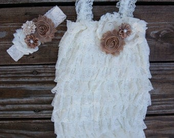 Ivory lace romper set.Rustic baby outfit. Petti lace romper.Baby lace romper set. Country baby.1st birthday outfit.