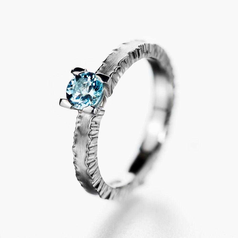 unique aquamarine ring forged aquamarine ring by korusdesign