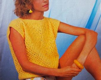 Sirdar 1980s Vintage Knitting Pattern Sunseeker DK Collection Cloud 9 B7125