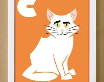 alphabet letter C, cat, custom colors, alphabet letter art, nursery decor, kids initials, 4X6, 5X7, 8X10