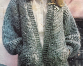 Knitting Pattern For Childs Chunky Cardigan : Vintage Knitting Pattern Instructions to Make a Ladies Chunky Cardigan