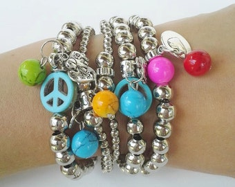 Friendship Bracelets - Boho Chic Metal Beads Silver Layering Bracelets - Multicolored Ceramic Beads - peace sign - beaded bracelets - summer