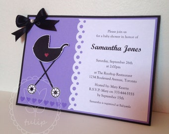 Baby Shower Invitation / Greating Card / Party Favor - Stroller (Set of 5 - customized)