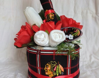 Baby Shower Chicago Hockey Huggies Diapers Blackhawks Diaper Cake Made with baby socks, burp cloth and receiving blanket