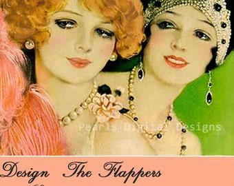etsy Shop Banner, The Flappers, Instant download, Blank, lovely vintage Flapper ladies, DIY
