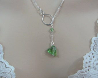 Peridot Infinity Lariat Necklace in Sterling Silver, Swarovski Crystal, August Birthstone, Peridot Heart Necklace, Peridot Jewelry
