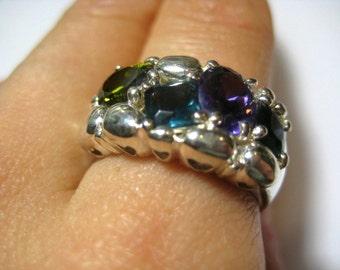 925 sterling silver vintage Multicolor Crystal Ring, size 8