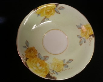 Vintage Aynsley England Bone China Light Green Saucer with Yellow Roses