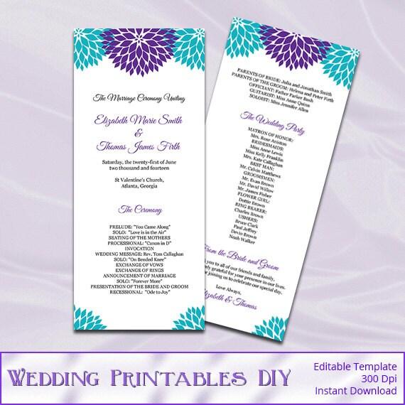purple teal wedding program template diy printable floral tea