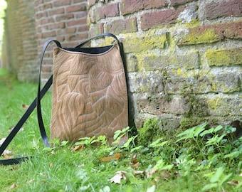 Brown Leather Tote, Cowhide bag, Leather Purse, Crossbody bag, Leather shoulder bag, Brown tote, Beige Shoulder Bag by Jossebags