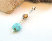 Turquoise Stone Belly Ring, Stone Belly Button Ring, Turquoise Jewelry, Navel Piercing, Natural Stone Jewelry, Body Jewelry. 13