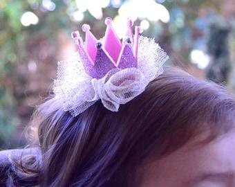 Pink and gold crown, Mini Princess crown hair clip, Baby crown, girl crown, newborn baby crown, Toddler, Birthday crown, Swarovski Crystal
