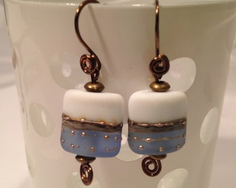 White and blue square pillow lampwork earrings