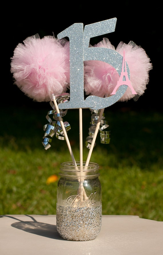 Paris party eiffel tower pink and silver centerpiece table