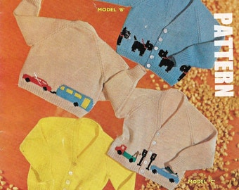 Knitting Pattern Dog Motif : Baby Knitting Pattern, Knitted Cardigans, Dog Motif, Car Motif, Traffic light...