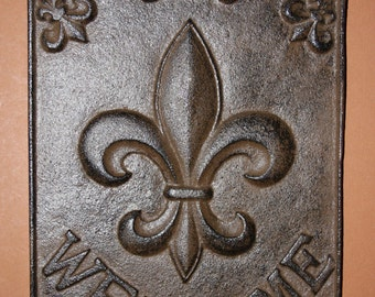 1, Fleur De Lis, Welcome Sign, Cast Iron, Front Door Decor, Foyer,  Entrance Door Decor, Foyer, French Style, New Orleans, F-9
